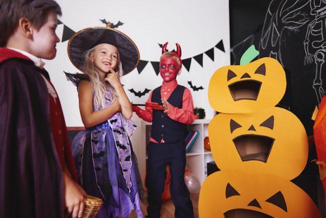 Pumpkin toss Halloween game for kids party